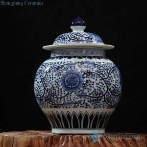 RZFQ05 Wholesale dark blue glaze hand paint high quality floral ceramic ginger jar