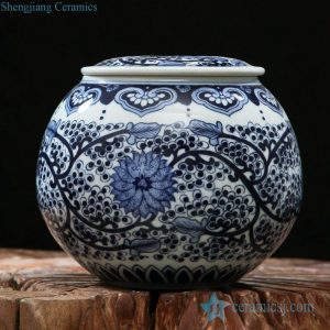RZFQ06 Round shape flat lid hand paint Chinese art jar