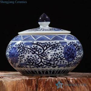 RZFQ08 round belly art craft floral under glaze blue porcelain cookie jar