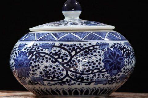 RZFQ08 round belly art craft floral under glaze blue porcelain cookie jar