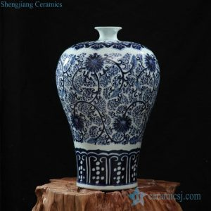 RZFQ09 Round shoulder small neck blue and white art craft porcelain decorative vase
