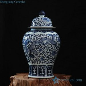 RZFQ10 Oriental style hotel display hand craft art works flying dragon and flower pattern ceramic ginger jar