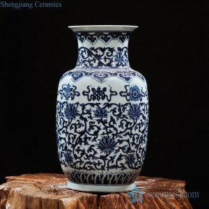 RZFQ12 Blue and white hand paint interlock lotus pattern ceramic gourd vase