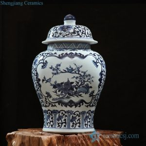 RZFQ13 Under glaze blue bird floral pattern large volume ceramic ginger jar