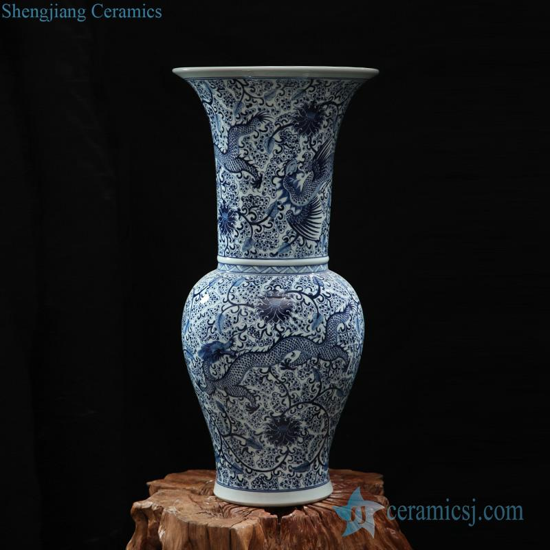 Chinoiserie hand paint dragon and floral pattern ceramic centerpiece vase