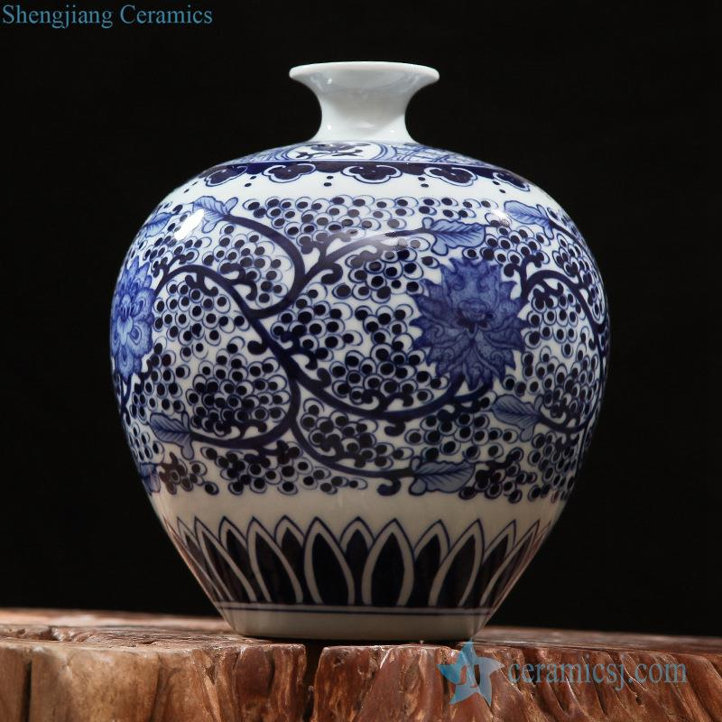 Rzfq15 Blue And White Narrow Short Neck Vintage Hand Paint China