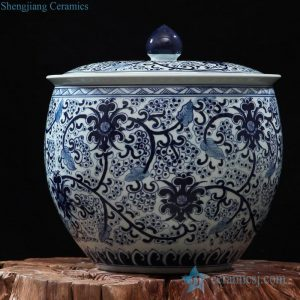 RZFQ16 large capacity hand paint blue and white ceramic sundries jar
