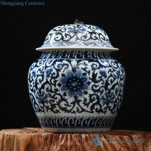 RZFQ17 High quality Jiangxi blue and white hand paint floral ceramic jar with metal ring knob