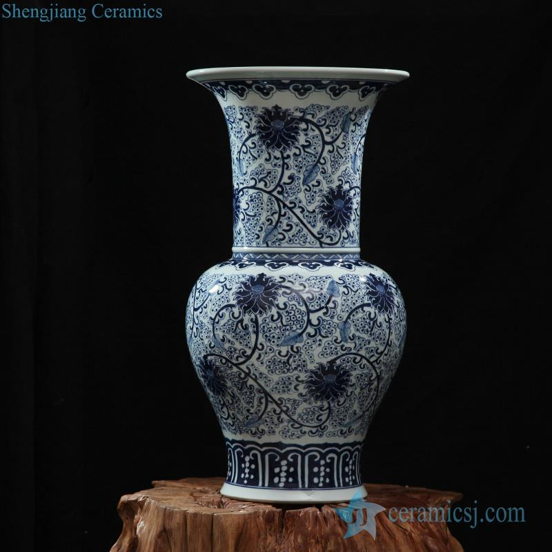 Rzfq18 Blue And White Hand Paint Flower Pattern Big Mouth Ceramic