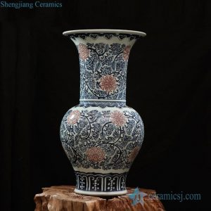 RZFQ19 Trumpet wide open neck shape blue and red floral porcelain vase