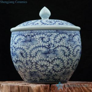 RZFQ21 Old style blue and white hand paint floral pattern ceramic food container jar