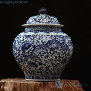 RZFQ22-01 Asian design blue and white dragon floral pattern ceramic ginger jar with large belly