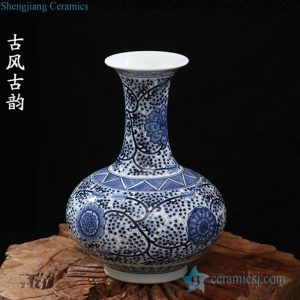 RZFQ22 long neck blue and white oriental ceramic vase for interior design