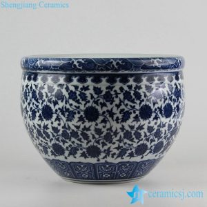 RZFU09-A-C73-01 Blue and white manufacturer outlet floral ceramic planter
