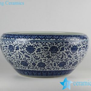 RZFU10-A-C73-04 Blue and white floral porcelain planter pot