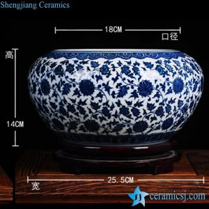 RZFU12-C-2 Blue and white floral ceramic fish pond pot