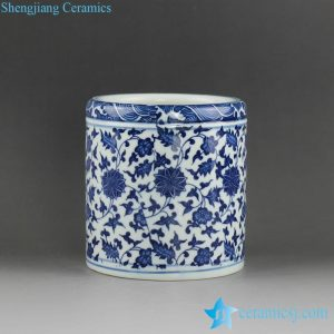 RZFU13 Blue and white floral ceramic pen holder