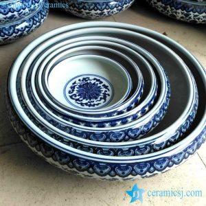 RZFU14 Blue and white several sizes flower planter pots