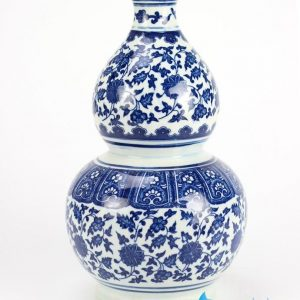RZFU16 Oriental style calabash shape blue and white floral ceramic vase for online sale