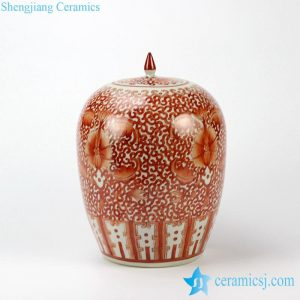 RZIH03 White background hand paint red floral pattern candle knob porcelain jar for online sale
