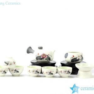 RZIV03-A/B/C Snow flake glaze colorful pottery tea sets
