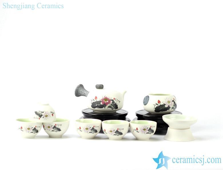 snow flake glaze ceramic tea set