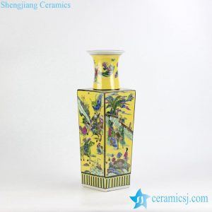 RZJH03 Famille rose yellow color ancient Chinese life pattern dimetric ceramic vase for online shopping