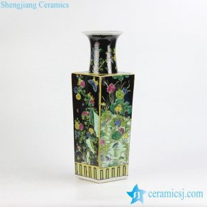 RZJH04 Hand paint black background square shape butterfly floral famille rose porcelain vase