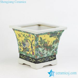 RZJH05 Chinese traditional hand paint yellow background dimetric famille rose porcelain planter pot