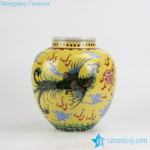 RZJH06 Yellow background hand paint phoenix and dragon pattern China style ceramic jar