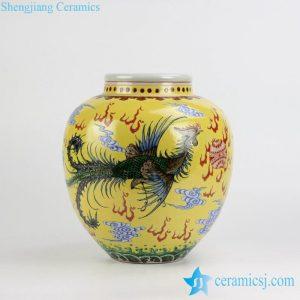 RZJH06 Yellow background hand paint phoenix and dragon pattern China style ceramic jar