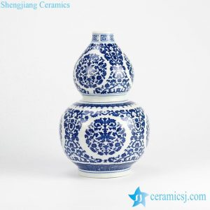 RZJQ02 Blue and white calabash shape floral porcelain vase for online sale