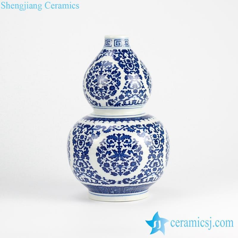 cucurbit shape blue and white floral ceramic vase