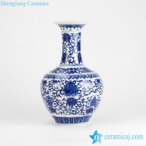 RZJQ03 Blue and white floral globular shape ceramic flower vase