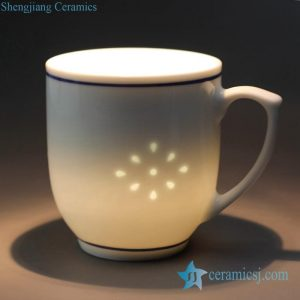 RZJW01-A Cheap price online sale transparent rice pattern ceramic coffee mug