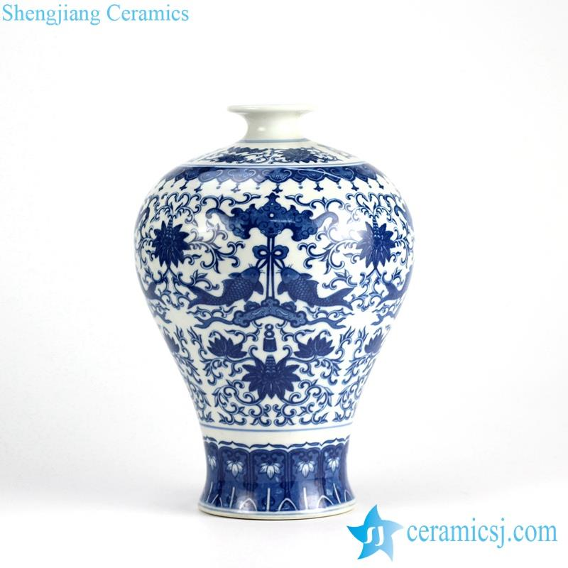 meiping blue and white double fish floral ceramic vase