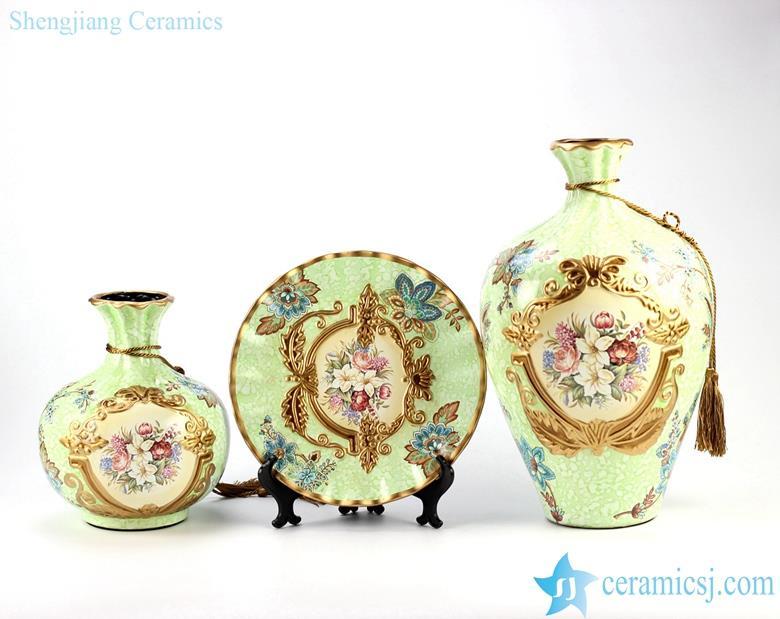 Home decor European floral ceramic vase and plate set