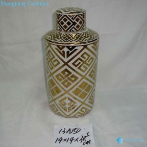 RZKA13A150 Golden gilded straight tube shape ceramic tin jar