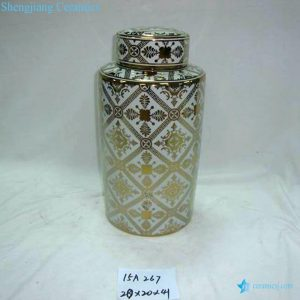 RZKA15A267 Morocco design gold plated floral preserve jar