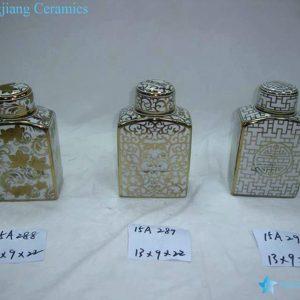 RZKA15A288 Rectangular royal pattern golden porcelain jar