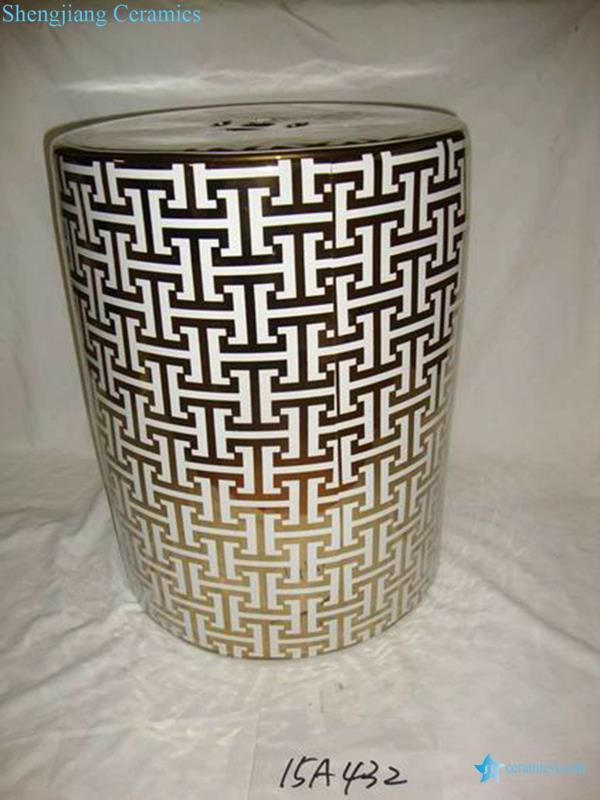 H letter pattern golden ceramic patio stool