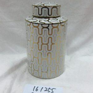RZKA161254 RZKA161255 Twinkling gold line pattern round tin chinaware jar