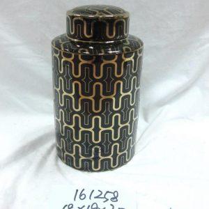 RZKA161257 RZKA161258 Golden line plated black color tin jar