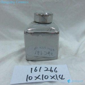 RZKA161266 Silver curvy line pattern triangular ceramic jar