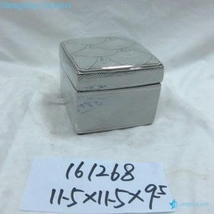 RZKA161268 Silver curvy line pattern ceramic box