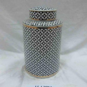 RZKA161271 RZKA161272 Black and white geometric pattern ceramic straight tin jars