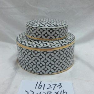 RZKA161273 undersized black geometric pattern ceramic jar