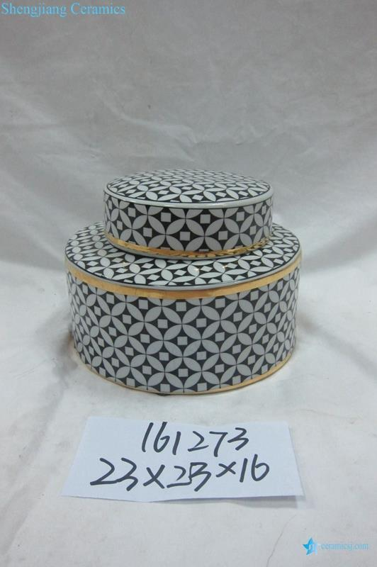 black geometric patter ceramic jar