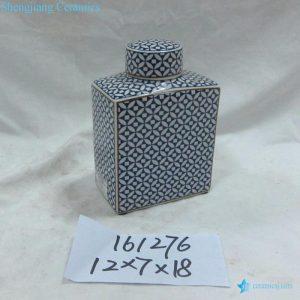 RZKA161276 Blue and white geometric pattern square ceramic jar