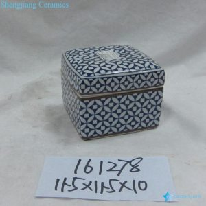 RZKA161278 Blue and white ancient Chinese copper cash pattern ceramic box shape jewelry container